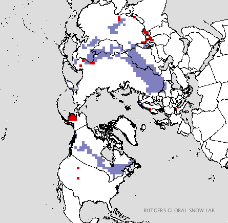 Areas in purple represent where snow cover is greater than normal.  (Rutgers Global Snow Lab)