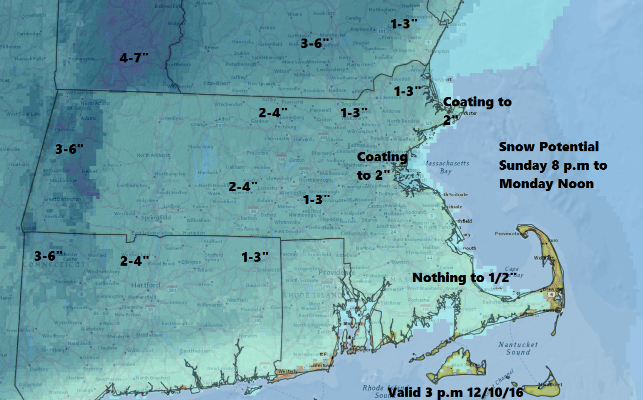 A light to moderate snowfall will occur Sunday night and Monday across southern New England