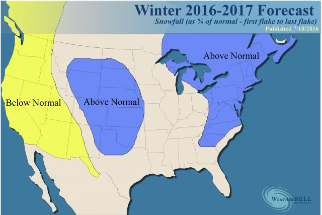 Weather Bell Analytics forecast is for a snowy winter in the northeast.